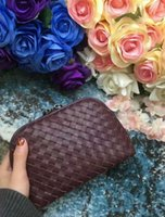 Wholesale leather handbag materials - 2018 women handmade material crochet handbag solid genuine leather soft sheep skin leather travel bag cosmetic bag kintting bag party 17cmBV