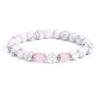 браслет дружбы из бисера оптовых-Ethnic Pink Flower Crystal Beaded Bracelets For Women 2018 Friendship Jewelry Charm Natural Stone Bangle Bracelet Adjustable