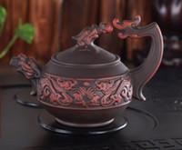teteras de barro yixing al por mayor-Chino raro hecho a mano Realista Dragón de yixing zisha Tetera de arcilla púrpura