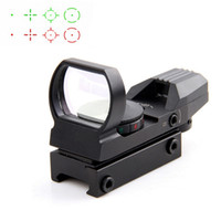 11 mm askı toptan satış-20 / 11mm Taktik Holografik Tüfek Refleks 4 Reticle Raylı Avcılık Optik Kırmızı Yeşil Nokta Sight Taktik Sight Kapsam Dağı ile