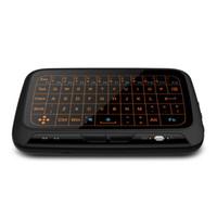ingrosso tastiera qwerty per tv-H18 + Wireless Air Mouse Mini tastiera H18 Plus Schermo intero Touch 2.4GHz QWERTY Tastiera Touchpad con funzione di retroilluminazione Per Smart TV PS3