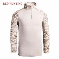 taktisches t-shirt großhandel-Tactical Combat Langarm Slim Fit Camo Shirt mit Reißverschluss