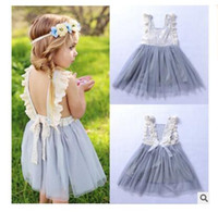 Wholesale wholesale net evening dresses - Girls Dress Summer Lace Net Flower Children Wedding Bowknot Party Tulle Dresses Sleeveless Kid Evening Baby Clothes for Girl Free Shipping