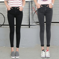 Wholesale fashion ankle cuffs - Spring Autumn Women Ankle-Length Cuffs Black Jeans Students Stretch Skinny Female Slim Pencil Pants Denim Ladies Trousers