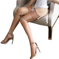 sexy frauen strumpfbänder nylons großhandel-Frauen Sexy Retro Nylonstrümpfe Weibliche Öl Blink Lange Oberschenkel Hohe Strümpfe Vintage Shiny Medias Strümpfe Für Strumpfband