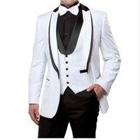 свадебное платье оптовых-Custom Made White Men Suit Slim Fit Formal Business Suit Groom Wedding Suits Prom Tuxedo Costumes Blazer (jacket+pant+vest)