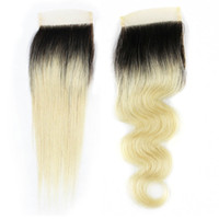 Wholesale hair extensions full lace closure - 4x4 Lace Closure Straight Body Wave Ombre Color T 1B 613 Blonde Extensions Brazilian Human Hair Free Part Middle Part Closure 8-20 inch