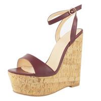 sandales gladiateur marron sexy achat en gros de-2018 femme plate-forme compensée sandale sexy bout ouvert bride à la cheville gladiateur sandale cuir marron super haute été chaussures habillées