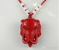 silberner glücklicher elefantenanhänger halskette großhandel-Großhandel - Chinese Red Organic Cinnabar Elephant Anhänger Halskette Lucky Jewelry Amulett A116