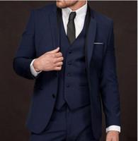 traje azul marino pantalones burdeos al por mayor-Azul marino traje de hombres de moda Blazer hombres boda traje de graduación Burgundy novio smoking Formal 3pcs (chaqueta + pantalones + chaleco)