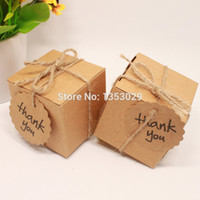 Wholesale centerpieces boxes for sale - Group buy Rustic Wedding Decor Kraft Paper Wedding Candy Box with Thank You Tag for wedding centerpieces table decoration