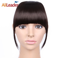 ingrosso capelli biondi marroni-AliLeader Short Striaght Neat Bangs Clip nelle estensioni dei capelli sintetici Front False Fringe Hair Piece Black Brown Blonde