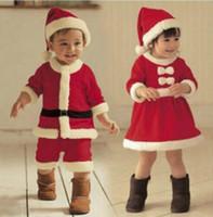 bebekler için bebek elbiseleri toptan satış-Çocuk Noel Giyim Seti Bebek Boys Suit Toddler Kız Elbise Noel Baba Kostümleri şapka cosplay set KKA5932