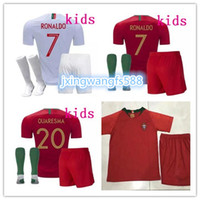 Wholesale youth reds jersey - kids soccer Jersey 2018 world cup Camisetas de Futbol J.MOUTINHO BERNARDO QUARESMA Football Shirt 18 19 PORTOGALLO youth Soccer suit