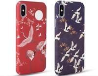 casos da flor de cerejeira do iphone venda por atacado-Meachy flor de cerejeira japonesa guindaste casos de telefone para iphone 7 plus 8 plus case para iphone 6 6 s plus x capa dura capa n70