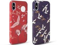 iphone kirschblütenkoffer großhandel-Meachy japanische Kirschblütenkran-Telefon-Kästen für iPhone 7 plus 8 Plusfall für iPhone 6 6s plus harte Abdeckung X Capa N70