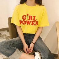 ingrosso potenza della signora-Summer Girl Power Rose T Shirt Lettera Bianco Giallo Grigio Nero Cotone Donna T-shirt Fiori Top femminile