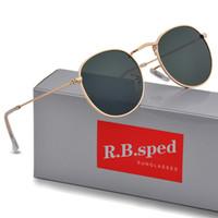 yüksek marka güneş gözlüğü toptan satış-1 adet Yüksek Kalite Moda Yuvarlak Güneş Mens Womens Tasarımcı Marka Güneş Gözlükleri Altın Metal Siyah Koyu uv400 Lensler Daha Iyi Kahverengi Durumda