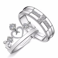 Wholesale Couples Beautiful - whole salenew fashion Couple ring Prince and princess Diameter 16mm Opening adjustable Crown cross engagement ring Beautiful gift