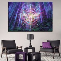 Wholesale psychedelic art - Canvas HD Prints Paintings Wall Art Abstract Pictures 1 Piece Pcs Psychedelic Kaleidoscope Owl Bird Posters Home Decor Framework