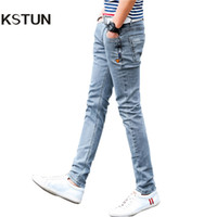 Wholesale grey designer jeans - New Korean Style Men Jeans Grey Slim Skinny Man Biker Jeans With Zippers Designer Stretch Fashion Casual Pants Pencils Trousers