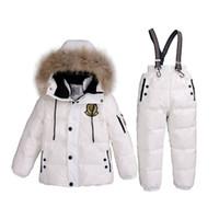 Wholesale real fur suits - 3~7T Russian Real Fur Warm Children Clothing Sets Girls Winter Down Coat Boys Jacket Children's Snowsuit Kids Outdoor Ski suit