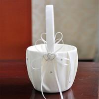 Wholesale Lace Bowknot Heart Shape Diamond Flower Basket Euro Style Wedding Celebration Supplies For Party Festival Decor cq ff