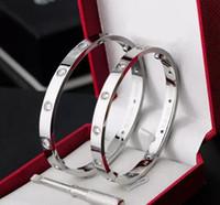 pulseras de hombre al por mayor-2018 Love screw Bangles 316L acero de titanio marca de lujo con diez cz piedra destornillador pulseras para mujeres puleiras hombres con bolsa de polvo