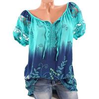 Wholesale women blouses bohemian - 5XL Plus Size Women Hollow Out Lace Splice Blouse Summer Clothes V Neck Tie Bow Print Bohemian Floral Blouses & Shirts WS6922W