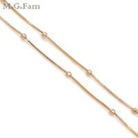 3 mm altın kaplamalı boncuklar toptan satış-MGFam (225N) (50 cm * 3mm) Moda Küçük Kutu Boncuk Zincir Kolye Ile Kadınlar Için 18 K Altın Kaplama Kurşun ve Nikel ücretsiz