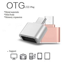 Wholesale Micro Usb Otg Cable Adapter - Fashion Plating Metal Color Micro USB OTG Adapter Male to USB2.0 Converter For Samsung Xiaomi Android Phone USB OTG Adapter
