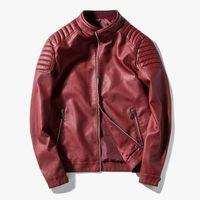 подставки для мотоциклов оптовых-2018 мужская кожаная куртка дизайн стенд воротник пальто мужчины повседневная мотоцикл кожаный пальто Мужские овчины куртки ветровка пальто