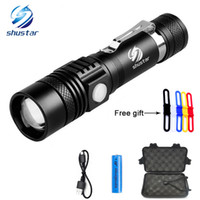 Wholesale Xml T6 Led Flashlight - CREE XML-T6 LED Flashlight Torch 3800Lumens zoomable led torch For 18650 battery aluminum+USB charger+Gift box+Free gift