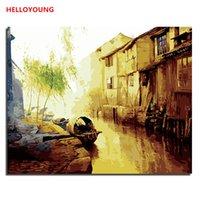pinturas a óleo de água venda por atacado-HELLOYOUNG DIY pintado à mão pintura a óleo Pintura Sonho Água Digital por números pinturas a óleo pinturas de rolagem chineses