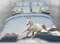 Wholesale horse king size bedding online - JF horses print bedding sets cal king size white horse bedspread twin quilt cover for single bed sheets