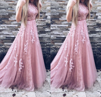 Wholesale Gold Evening Belts - 2018 Long Prom Dresses A Line Appliques Lace Sleeveless With Belt Blush Pink Formal Evening Gowns Prom Dress Party dress