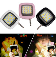 Wholesale flash brightness - Cell Phone Camera Fill Light Smartphone LED Flash Fill Light 16 Leds Portable 3.5mm For iPhone IOS Android Adjustable Brightness