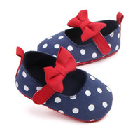 обувь для младенцев оптовых-Autumn Baby First Walkers baby girls cotton fabric patch single shoes Spring and autumn bow princess shoes toddler