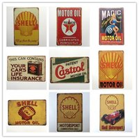 Wholesale rustic home decor - Hot sale vintage retro rustic metal tin sign home pub bar restaurant cafe decor Man Cave Motor Oil Shell Motorsport sign