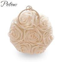 sacs à main de broderie de soie achat en gros de-Pofow ronde fleur femmes soie soirée de noces banquet luxe sac à main femmes sacs designer bracelets sac à main broderie