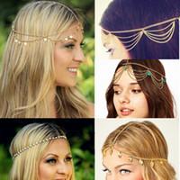correntes para cabelos venda por atacado-New Hot Praia Multi Camada de Metal Cor de Ouro Cabeça de Cabelo Cadeia de Jóias Borla Pérola Deixa Acessórios de Cabelo Bindi Boêmio Headband