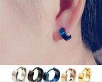 ingrosso orecchino del cerchio azzurro-Orecchini a bottone Mens Cool Orecchini a bottone in acciaio inox Orecchini a cerchio Orecchini in oro nero argento blu con canale J154