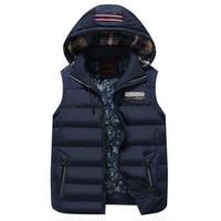 kolsuz polyester perukazalar toptan satış-Yeni Erkek Kış Kolsuz Ceketler Moda Rahat Kalın Yelekler Erkekler Hoodie Coats Erkek Pamuk Yastıklı Sıcak İnce Yelek
