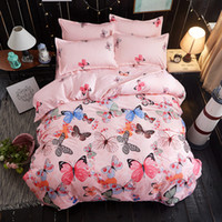Wholesale Light Pink Queen Sheet Set - butterfly 3 4pc Bedding Sets High quality luxury soft comfortab duvet cover+Flat sheet+Pillowcases Home textile-Bed Linens