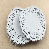 "white paper placemat Australia - 500 Pcs   lot 3.5"" White Round Lace Paper Vintage Coasters Placemat Craft Wedding Christmas Table Decoration"