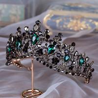 coronas de strass chino al por mayor-Hechos a mano de lujo barroco nupcial corona tiara negro verde oscuro cristal tocados accesorios para el cabello por la noche para las novias gótico nupcial