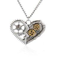 anahtarlık kalp kolye toptan satış-Vintage Gümüş Kalp Kolye Zinciri Steampunk Kolye Kadın Kızlar Için Kristal Anahtar kelebek Arı Baykuş Charm Buhar Punk Takı