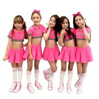 ingrosso bambini jazz costume-bambino rosso cheerleader costume vestito da ballo per ragazza jazz moderna danza costumi bambini sexy