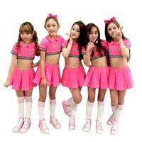 trajes de dança moderna venda por atacado-Criança vermelho cheerleader traje dança vestido para menina jazz trajes de dança moderna crianças sexy