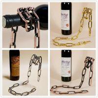 çerçeveli süsler toptan satış-Şarap Rafı Kırmızı Şarap Şişesi Tutucu Yaratıcı Süspansiyon Halat Zincir Kırmızı Kırmızı Şarap Şişesi Için Destek Çerçevesi 3 cm Ev Mobilya süsler C102